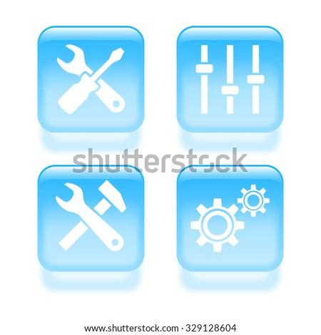 Glassy settings icons. Vector illustration - stock vector