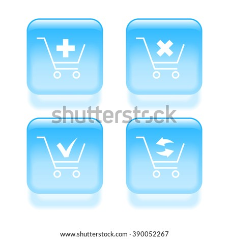 Glassy shopping cart icons. Vector illustration