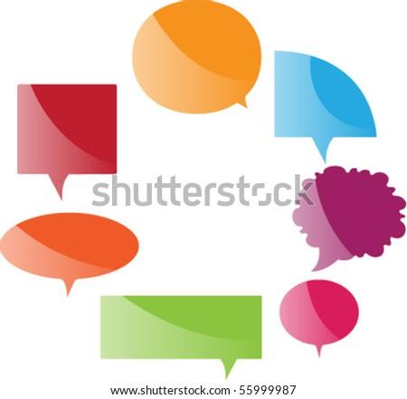 glassy speech bubbles - stock vector