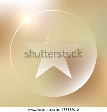 Glassy star icon. Bookmark, ranking, rating button. Vector illustration - stock vector