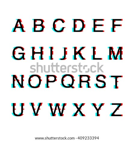 Glitch distortion alphabet font.