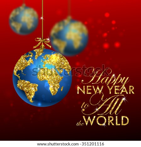 Glitter christmas ball world map greeting stock vector 351201116 glitter christmas ball with world map greeting card with typography and gold world globe gumiabroncs Image collections