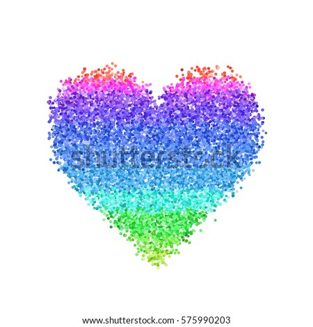 Glitter Colorful Heart Cute Symbol Valentines Stock Vector Royalty
