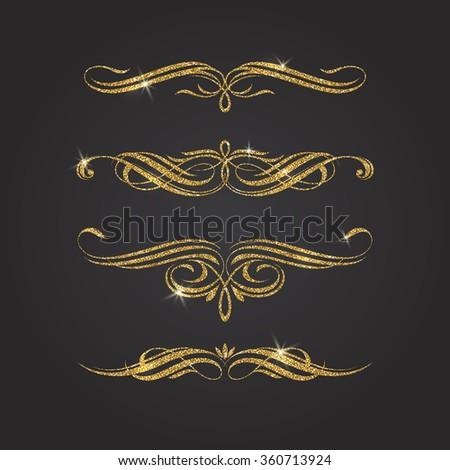 Glitter gold flourishes vector design elements - stock vector
