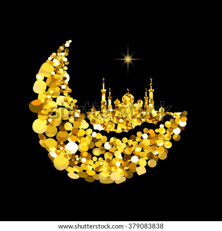 Glitter gold Silhouette of mosque with minarets on moon Crescent. Concept for Islamic  Muslim holidays Mawlid birthday prophet Muhammad, holy month Ramadan Kareem, Eid Mubarak, Fatima bint Muhammad - stock vector