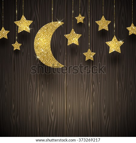 Glitter gold stars and moon on a wooden texture background - vector illustration