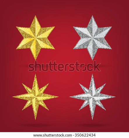 Glitter golden and siver Christmas Star  on red background - stock vector