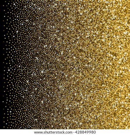 Glitter golden gradient with scattered tinsel and sparkles  - stock vector