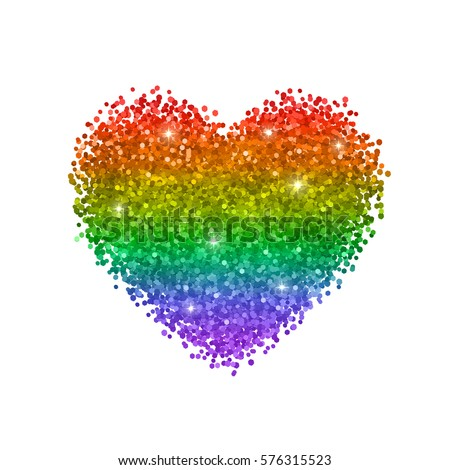 Glitter Heart Colors Of Rainbow Lgbt Symbol Isolated On White Background Vector