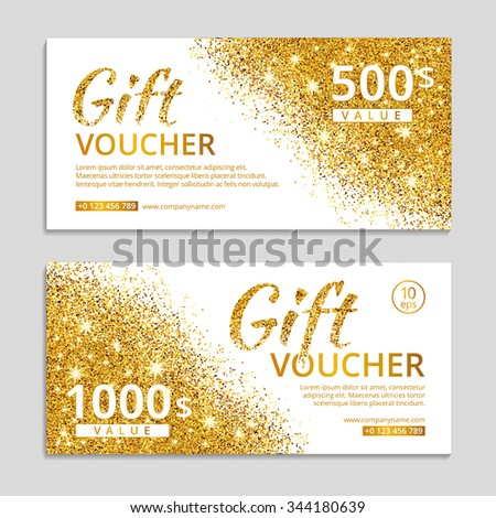 gift certificate template with logo - glitter sparkles on white background voucher stock vector