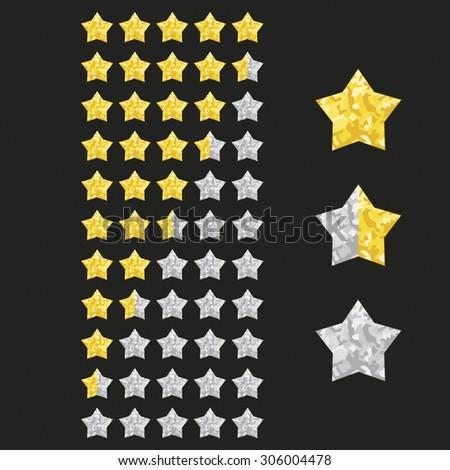 Glitter sparkling rating stars set.Graphic elements for web or mobile. Vector illustration. - stock vector