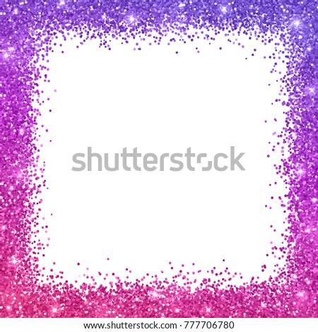 Glitter Square Border Frame Purple Pink Stock Vector ...