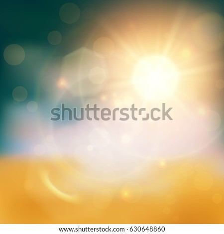 Glittering and blurred summer background with gold sun and many light effects.