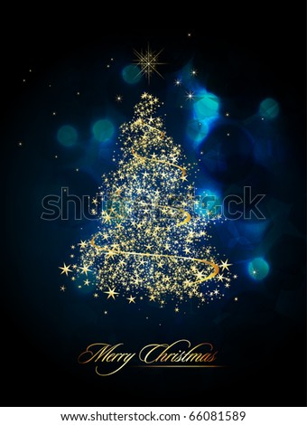 Glittering Christmas Tree | EPS10 Vector Greeting - stock vector