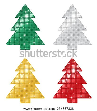 Glittering Christmas Trees - stock vector