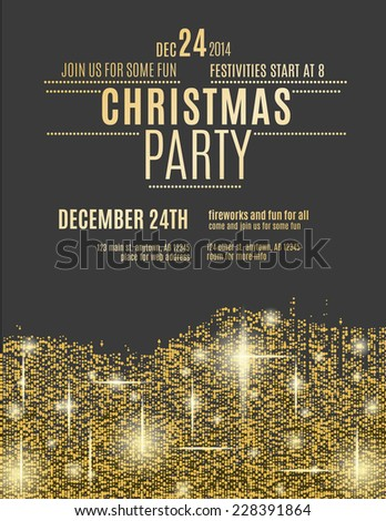Glittering Gold Christmas party invitation flyer - stock vector