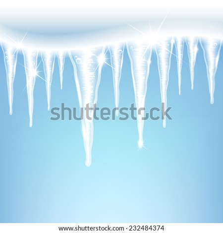 glittering icicles on a blue background - stock vector