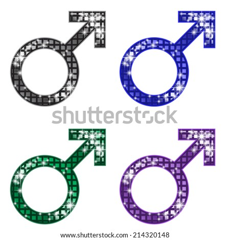 Glittering MALE Symbol - stock vector