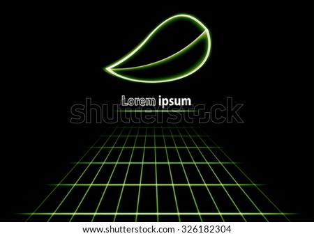 Glittering perspective abstract background with green leaf logo. Vector illustration - stock vector