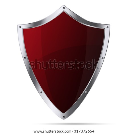 Glittering red metallic shield isolated on white background - stock vector