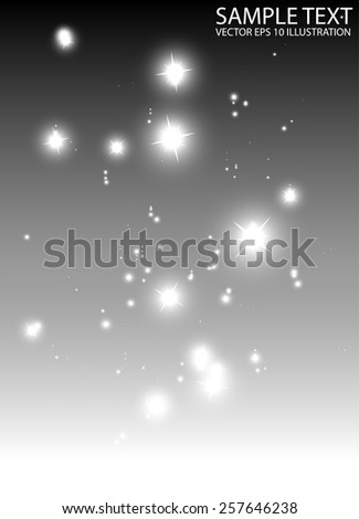 Glitters falling down background vector template - Vector sparkle fall in space background illustration - stock vector