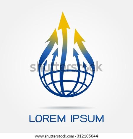 Global arrow logo template,Global business idea.- vector illustrator  - stock vector
