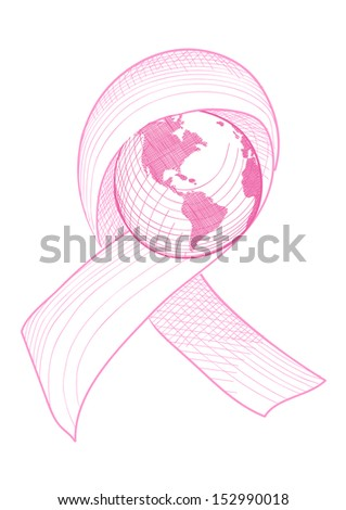 Global breast cancer awareness ribbon symbol with planet Earth concept illustration. EPS10 vector file organized in layers for easy editing. - stock vector