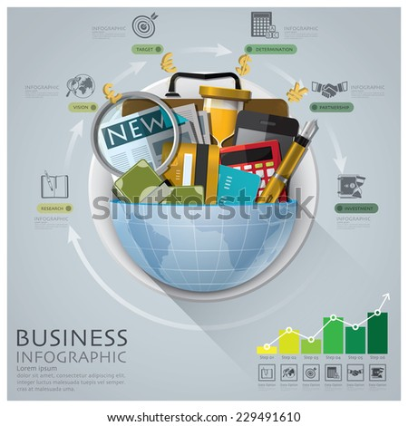 Global Business And Financial Infographic With Round Circle Diagram - stock vector