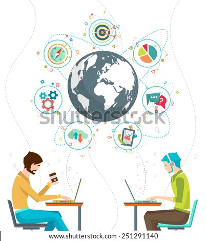 Global business concept. Communication in the global networks. Multitasking in business. Long-distance administration and management. Concept of social media network.  Vector illustration. - stock vector