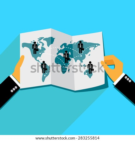 global business concept in flat design, Vector web design and infographic - stock vector