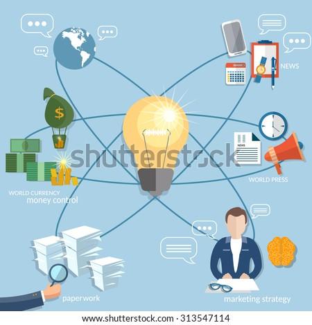 Global business concept startup businessman finance online payment management money transaction flat vector illustration - stock vector