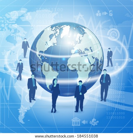 Global Business Concept with Earth, Business Silhouettes and Icons, vector illustration on abstract background