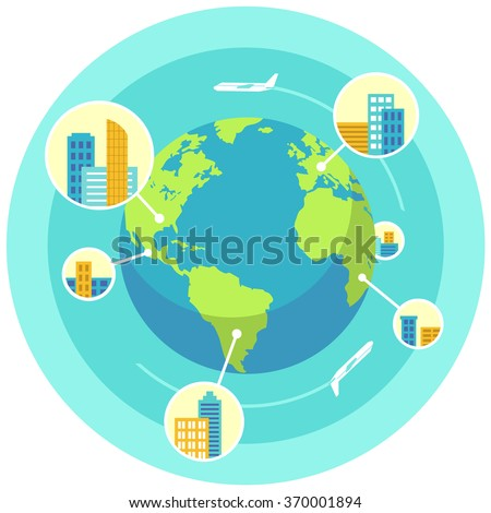 Global business design concept. Flat style vector illustration. Offices in many cities around the world. Air traffic between continents.  - stock vector