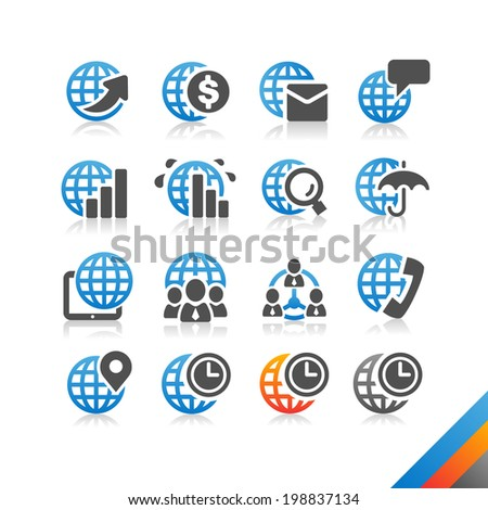 Global Business Finance icon vector - Simplicity Series - Three color version icons vector - stock vector