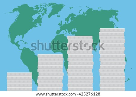 Global business finance map money. World map and global market concept. Economy investment and  success growth. Vector flat design illustration - stock vector