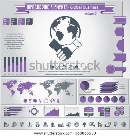 Global Business - Icon set and infographic elements.EPS10 vector. - stock vector