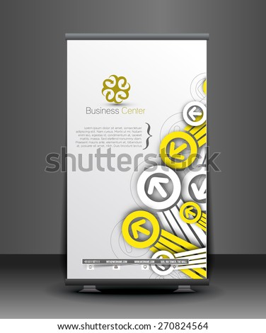 Global Business Roll Up Banner Design - stock vector