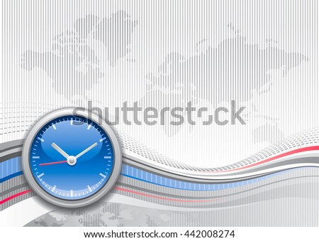 Global business travel abstract background with stripped silver pattern and world map. Realistic clocks icon and copy space for text. For tourism agency, communications, other summer vacation designs - stock vector
