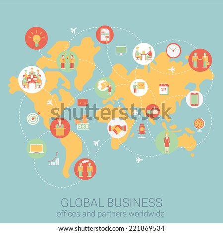 Global business worldwide flat style design vector illustration world map people partnership link connections staff office corporate concept. Collage of infographics. Big flat conceptual collection.  - stock vector