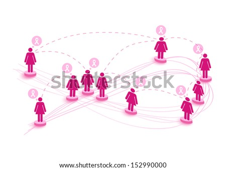 Global collaboration breast cancer awareness concept illustration: connecting social media women over World map. EPS10 vector file organized in layers for easy editing. - stock vector