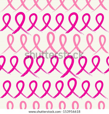 Global collaboration breast cancer awareness concept illustration. Seamless pattern background made with ribbon symbols. EPS10 vector file organized in layers for easy editing. - stock vector