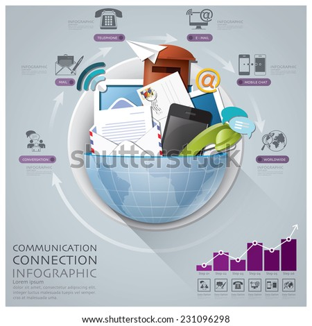Global Communication And Connection Infographic With Round Circle Diagram Design Template - stock vector