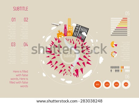 Global Communication Background Illustration, Vector Info Graphics, Earth and Trees - stock vector