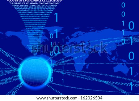 Global Communication Concept - Technology stream and globe with data arrow - stock vector