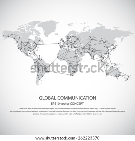 Global communication - EPS10 vector concept. All mayor - biggest cities are pointed on detailed world map.. Masses of copy space for your text.Can be used in any project - stock vector