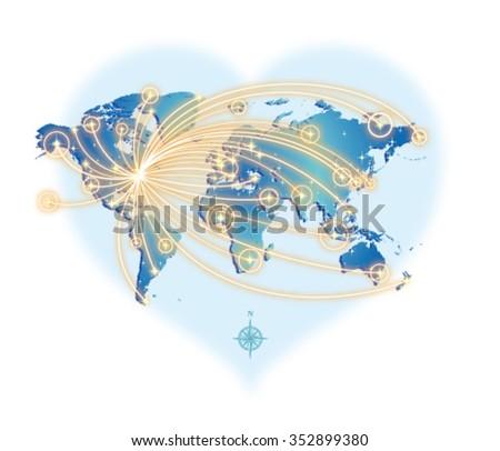 GLOBAL COMMUNICATION (from New York) - stock vector