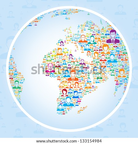 Global communication,Social network concept - stock vector