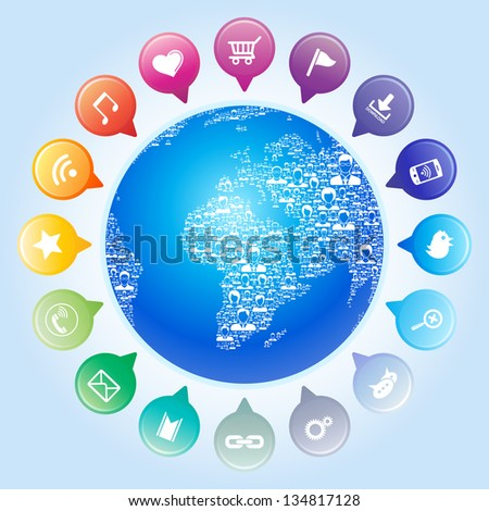 Global communication,Social network concept - stock vector