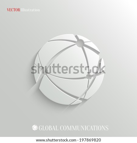 Global communications icon - vector web illustration, easy paste to any background - stock vector