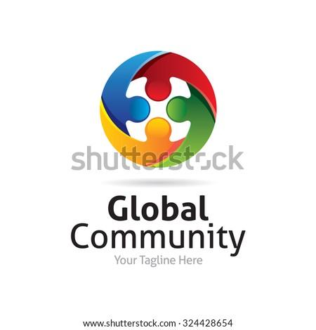 Global Community Logo - stock vector
